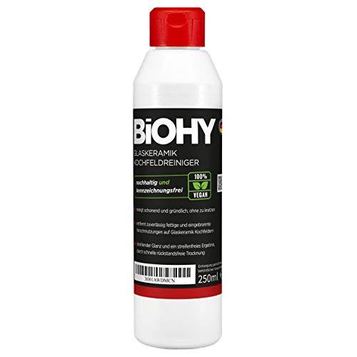 BiOHY Detergente per piani cottura in vetroceramica (Bottiglia da 250ml) | Ottimo per la pulizia e la cura del piano cottura e per l'induzione (Glaskeramik Kochfeldreiniger)