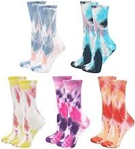 Lovful Cotton Socks for women, Funny Cute Crew Socks, Women Tie Dye Socks 5 Pairs
