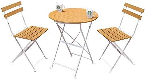 Draagbare kleine koffietafel drie stuks tafel en balkonstoelen buiten gesmeed ijzer tuin van kunststof buiten inklapbaar eenvoudige houten tafels en stoelen