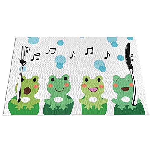 KPJDWEDS Music Frog Placemats, Washable Easy to Clean, Heat Resistant Stain Anti-Skid PVC Placemats, Woven Vinyl Table Mats for Kitchen Dining Table 12 X 18 Inch(Set of 6)