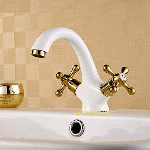Fregadero Grifos de lavabo Grifos de lavabo Grifería de lavabo de laca blanca al horno fría y caliente Lavabo universal
