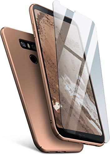 MoEx Protezione a 360 Gradi a 360° [Custodia + Vetro] Compatibile con LG G6 | Copertura Cellulare Sottile in Oro incl. Pellicola Protettiva cristallina in Vetro temperato
