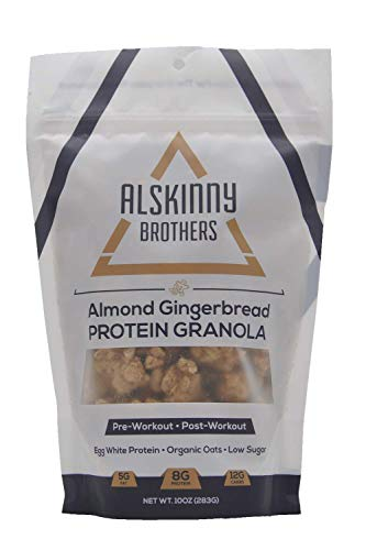 Alskinny Brothers Granola – Protein – Non-GMO – Natural Ingredients – Low Sugar – Paleo-Friendly – Ideal with Yogurt + Acai + Oatmeal + Deserts – Almond Gingerbread – 1 Pack