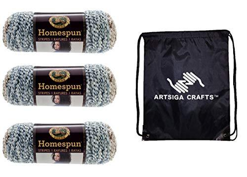 Lion Brand Knitting Yarn Homespun Beachside Stripes 3-Skein Factory Pack (Same Dye Lot) 790-225 Bundle with 1 Artsiga Crafts Project Bag -  MPN-790-225