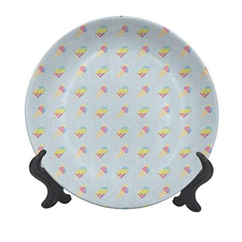 Plato decorativo de cerámica de 15,24 cm, diseño hipster de color pastel con helado abstracto y palitos de verano decorativo para mesa de comedor, decoración del hogar