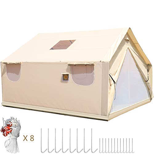Happybuy Canvas Wall Tent 14X16ft, Wall Tent with PVC Storm Flap, Large Canvas Wall Tent Waterproof, Camping Canvas Tents with Stove Hole for 8-10 People Outdoor Camping Hiking Party Hunting