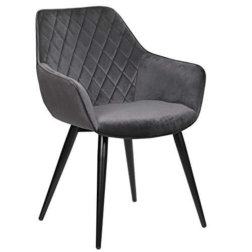 WOLTU Esszimmerstühle BH153dgr-1 1x Küchenstuhl Wohnzimmerstuhl Polsterstuhl mit Armlehen Design Stuhl Samt Metall Dunkelgrau
