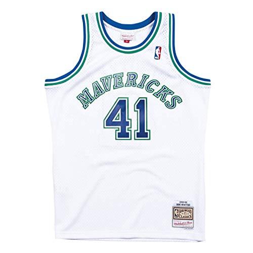 Mitchell & Ness Dallas Mavericks 41 Dirk Nowitzki White Replica Swingman Jersey 2.0 HWC Basketball Trikot