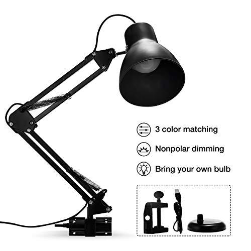 Fulighture LED bureaulamp, Swing Arm bureaulamp met LED-lamp, Flexibele klem op tafellamp, Gevoelige Touch Control, USB aangedreven, Perfect voor tafel lezen Studie kantoorslaapkamer
