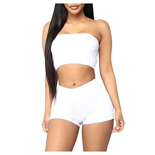 Yue668 - Pantalones cortos de yoga para mujer, color liso, Mujer, blanco, large