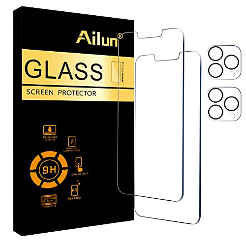 Ailun 2 Pack Screen Protector Compatible for iPhone 13 Pro Max [6.7 inch] Display 2021 with 2 Pack Tempered Glass Camera Lens Protector,[9H...