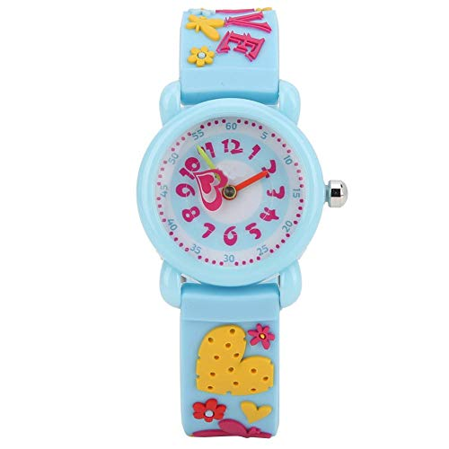 Kinder Armbanduhr, 3D Cartoon wasserdichte Armbanduhr PVC Armbanduhr für Kinder Kleinkind Jungen Mädchen Mädchen 3-12 Jahre alt(Blau)