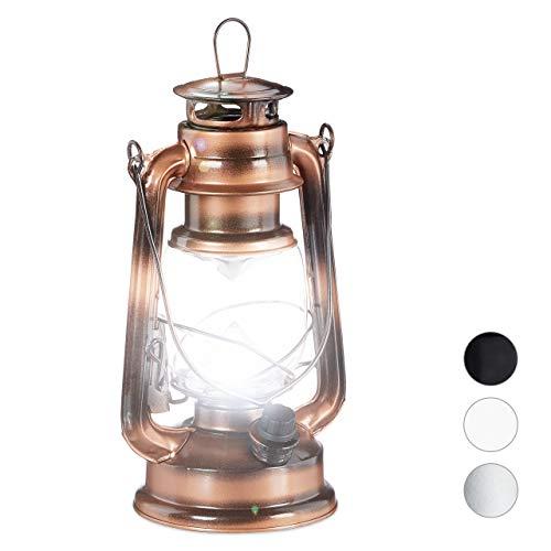 Relaxdays, koperen stormlantaarn, LED, retro stormlamp als raamdecoratie of elektrische tuinlantaarn, werkt op batterijen