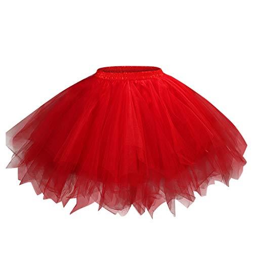Kingko_Kleidung 50er Vintage Ballet Blase Firt Tulle Petticoat Puffy Tutu Petticoat 50er Rockabilly Jahre Retro Tutu Ballet Tüllrock Cosplay Crinoline (M, Rot)