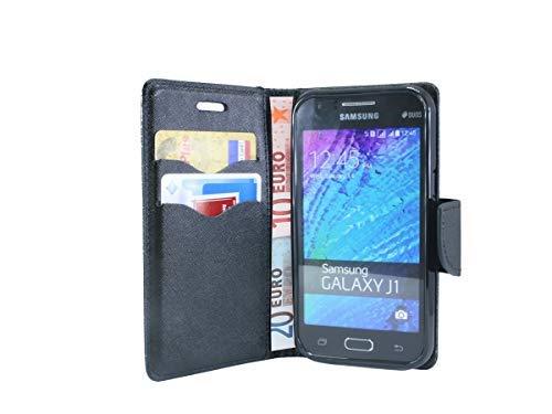 cofi1453® Buch Tasche Fancy kompatibel mit Samsung Galaxy J1 (J100H) Handy Hülle Etui Brieftasche Schutzhülle mit Standfunktion, Kartenfach in Schwarz
