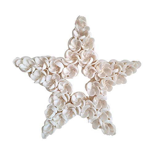 Beach Décor for Home and Bathroom, Handmade Natural Wall Art - White Star Shaped Seashell Home Deco in Flower Pattern. Dining Room, Living Room, Spas Ocean Decorations. Unique Nautical Gift Ideas.