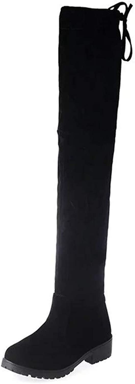 GEORPE Over The Knee Boots Classic Hidden Square Heel Stretch Fabric Black shoes