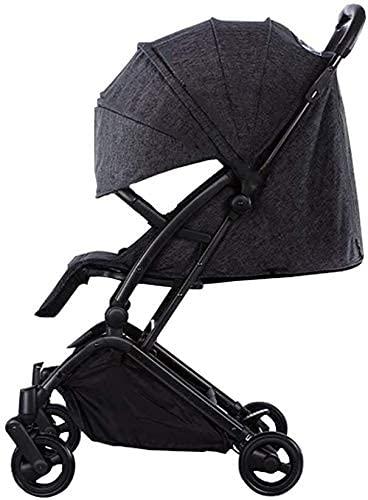 TANKKWEQ Cochecito Plegable El Trolley de la Ciudad Compacto Shade, Black Baby Buggy, los niños Pueden Sentarse a Prueba de Golpes Plegables Plegables