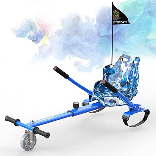 """SOUTHERN WOLF Hoverkart GO-Kart Asiento, Compatible con 6,5""""8"""" 10""""Auto Equilibrio Hoverboard, Longitud Ajustable, gokart con Bandera (Azul Militar)"""