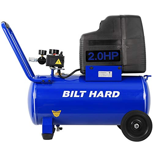 BILT HARD Air Compressor, 8 Gallon 150 PSI 2HP, 4.0CFM@90PSI, Oil Free, Max Speed 3400 RPM, Portable with Wheels