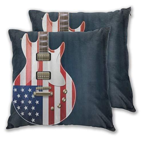 WINCAN Juego de 2 Decorativo Funda de Cojín Música Guitarra eléctrica con Bandera Estadounidense Country Band Rock Blues Concierto Jazz Funda de Almohada Cuadrado para Sofá Cama Decoración para Hogar