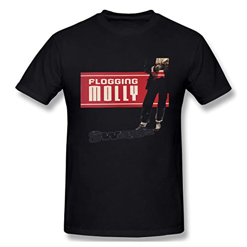 Uoliicoze Men Round Neck Short Sleeve T Shirt Soft Flogging Molly Swagger Logo Cotton T Shirts L