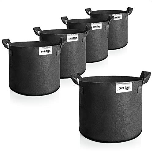 com-four® 5X Saco para Plantas 20 L - Bolsa para Plantas - Macetero para Tomates - Saco fitosanitario (20 L- 5 Piezas)