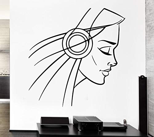 Decal Headphones Girl Teen Sexy Music Cool Decor Rock Pop For Bedroom