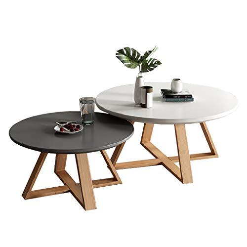 Satztische 2er-Set klein, Moderne runde Couchtische aus Holz, Buchenholz Beine Sofa Tische, Ø50cmx40cm + Ø70cmx 45cm