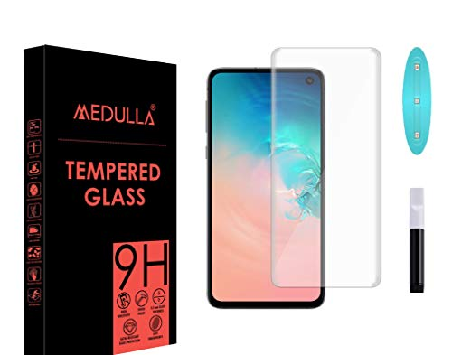 Medulla UV Tempered Glass Screen Protector for Samsung Galaxy S10 Border Less Full Coverage Edge to Edge with Installation Kit