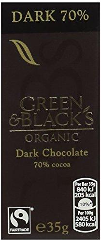 Green & Black's Organic 70% Dark Chocolate Bar, 35g (Pack of 10)