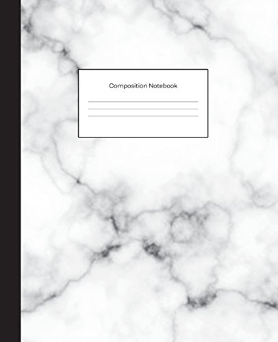 Composition Notebook: White Grey Marble College Ruled Blank Lined Cute Notebooks for Girls Teens Kids School Writing Notes Journal (7.5 x 9.25 in)