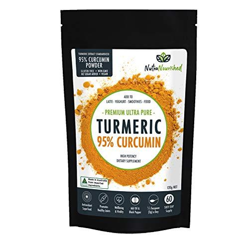 Nutra Nourished Turmeric Curcumin Supplements 1000mg with Black Pepper, Premium Arthritis Pain & Joint Supplements for Women & Men, Tumeric 95% Standardized Curcumin Supplement w Bioperine Powder