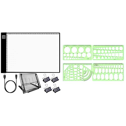 SNOWINSPRING Diamond Painting Light Cushion Kit, USB Powered Dimmable & Geometric Template Ruler Drawing Template Measuring Ruler