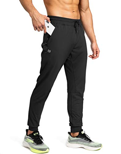 G Gradual Men's Sweatpants with Zipper Pockets Athletic Pants Traning Track Pants Joggers for Men Soccer, Running, Workout (Black, X-Large)