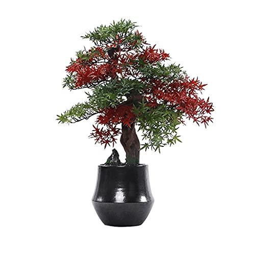 Árbol bonsai artificial Árbol artificial Bonsai Creativo Rojo y Verde Hojas Negras Piedras Cerámica Macetas Simulación Simulación Planta Decoración en la sala de estar y oficina Artificiales de bonsái