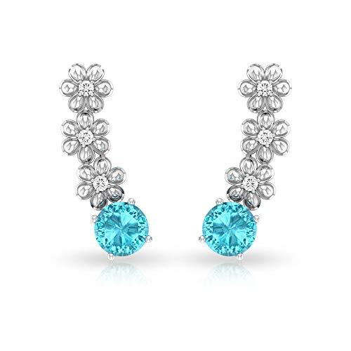 Pendiente de diamante suizo certificado IGI de 1,12 ct con topacio azul, solitario, pendiente de cartílago, claridad de color HI-SI, flor de oreja trepador, tornillo hacia atrás