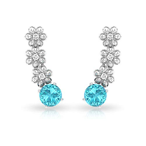 Pendiente de diamante suizo certificado IGI de 1,12 ct con topacio azul, solitario, pendiente de cartílago, claridad de color HI-SI, flor de oreja trepador,18K Oro amarillo, Par