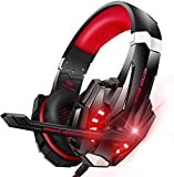 BENGOO G9000 Updated Stereo Gaming Headset for PS4, PC, Xbox One Controller, Noise Cancelling Over Ear Headphones with Mic, LED Light, Bass Surround, Soft Memory Earmuffs for Laptop - Red