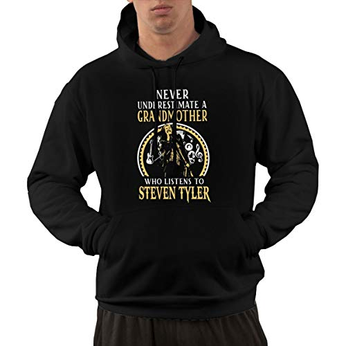 NOT Steven Tyler Grandmother Grandmother Who Listens to Steven Tyler Funny Men's Hoodie Black
