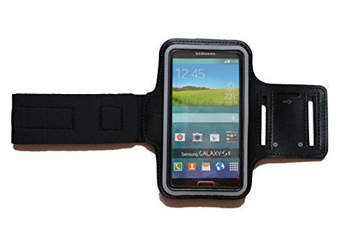 Dealbude24 Schwarz M Sport Armband Schutz Hülle für Samsung Galaxy S5 Mini und A5, Case veränderbarer Länge, für Rennen, Workout, Wandern, Fitness und Laufen mit Kopfhöreranschluss aus Neopren