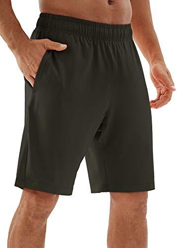 icyzone - Pantalones cortos de running para hombre con bolsillos - verde - Medium