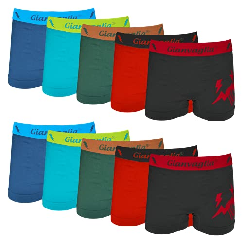 10er Pack Jungen Boxershorts | Kinder Microfaser Retroshorts | Unterhosen | Schlüpfer (Mehrfarbig, 116-134)