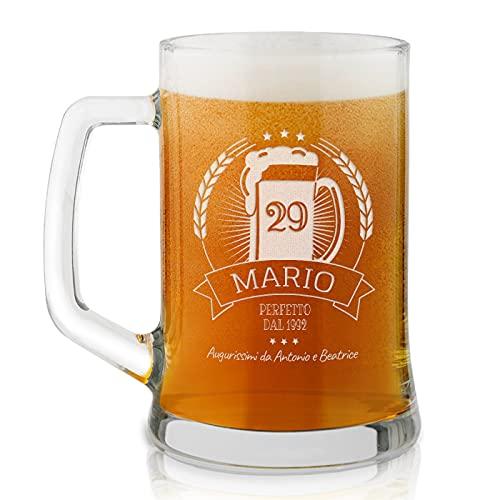 Maverton Boccale per la Birra in vetro con personalizzazione - capienza 500 ml - H12 cm x Ø8,5 cm - ottima idea regalo per le feste perfetto per ogni uomo amante della buona Birra - perfetto