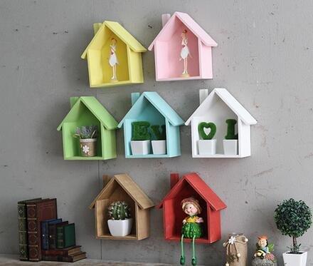 webest Mehrzweck-Mini-Häuser aus Holz, Setzkasten, Pflanzenregal, dekorativer Rahmen zum Aufhängen, weiß, 19*24*9cm