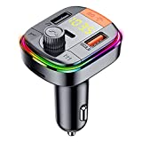 D DINGRICH Bluetooth FM Transmitter for Car, Bluetooth FM Transmitter Radio Receiver, Bluetooth Car Adapter with QC3.0 & Type-C Fast Charger, Mp3 Player with Dual USB Charging Ports,Wide Compatibility