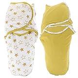 TOYANDONA 2 Stück Baby Wickeldecke Wickel Verstellbarer Baby Wickelsack für 3-6 Monate Neugeborene Jungen Und Mädchen Gelb