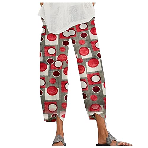 Dasongff Pantalon décontracté en lin pour femme avec poches - Longueur 3/4 - Style hippie - Uni - Motif floral - Boho - Taille élastique