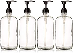 32 Ounce Glass Pump Bottles , Clear Glass with Black Pumps. Great for Lotions, Soaps, Oils, Sauces and DIY Laundry Detergent - Food Safe and Medical Grade - by kitchentoolz (Pack of 4)