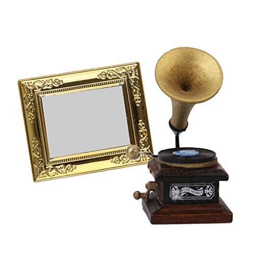 CUTICATE 2 Stück Miniatur Plattenspieler Grammophon & Goldener Rahmen Spiegel für 1:12 Puppenhaus Dekoration
